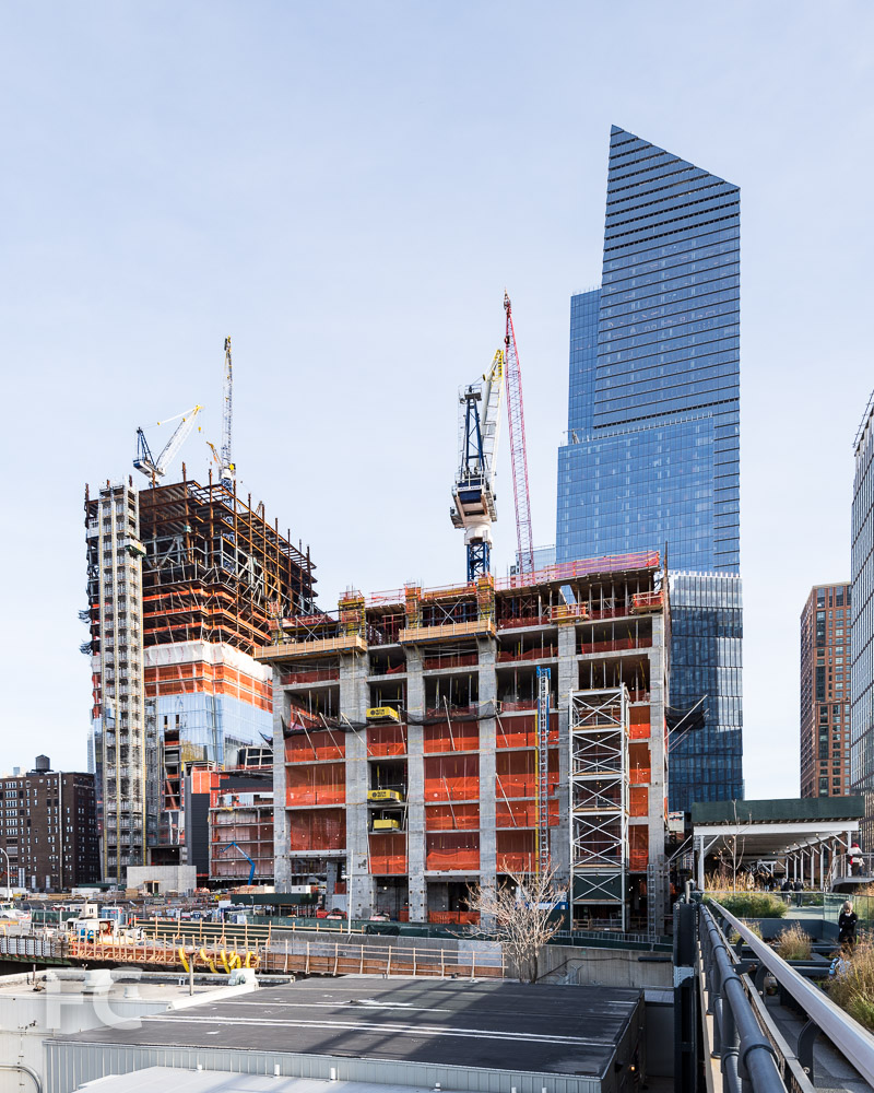 West façade of 15 Hudson Yards (center), with 30 Hudson Yards (left) and 10 Hudson Yards (right) rising behind.