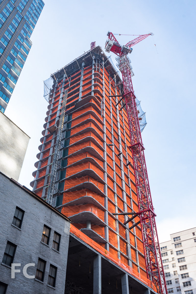 Looking up at the northeast corner of the tower from West 53rd Street.