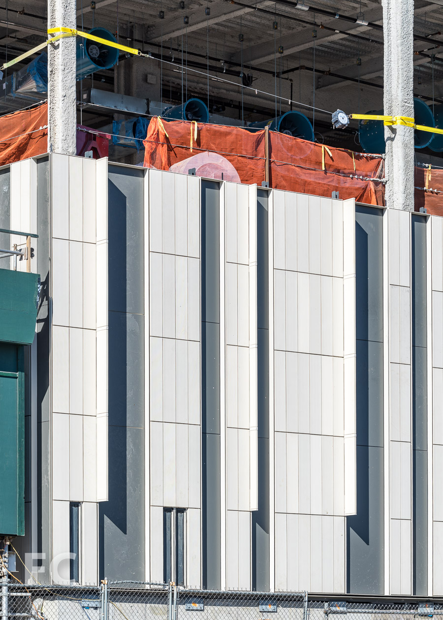 Close-up of the facade panels at the southeast corner.