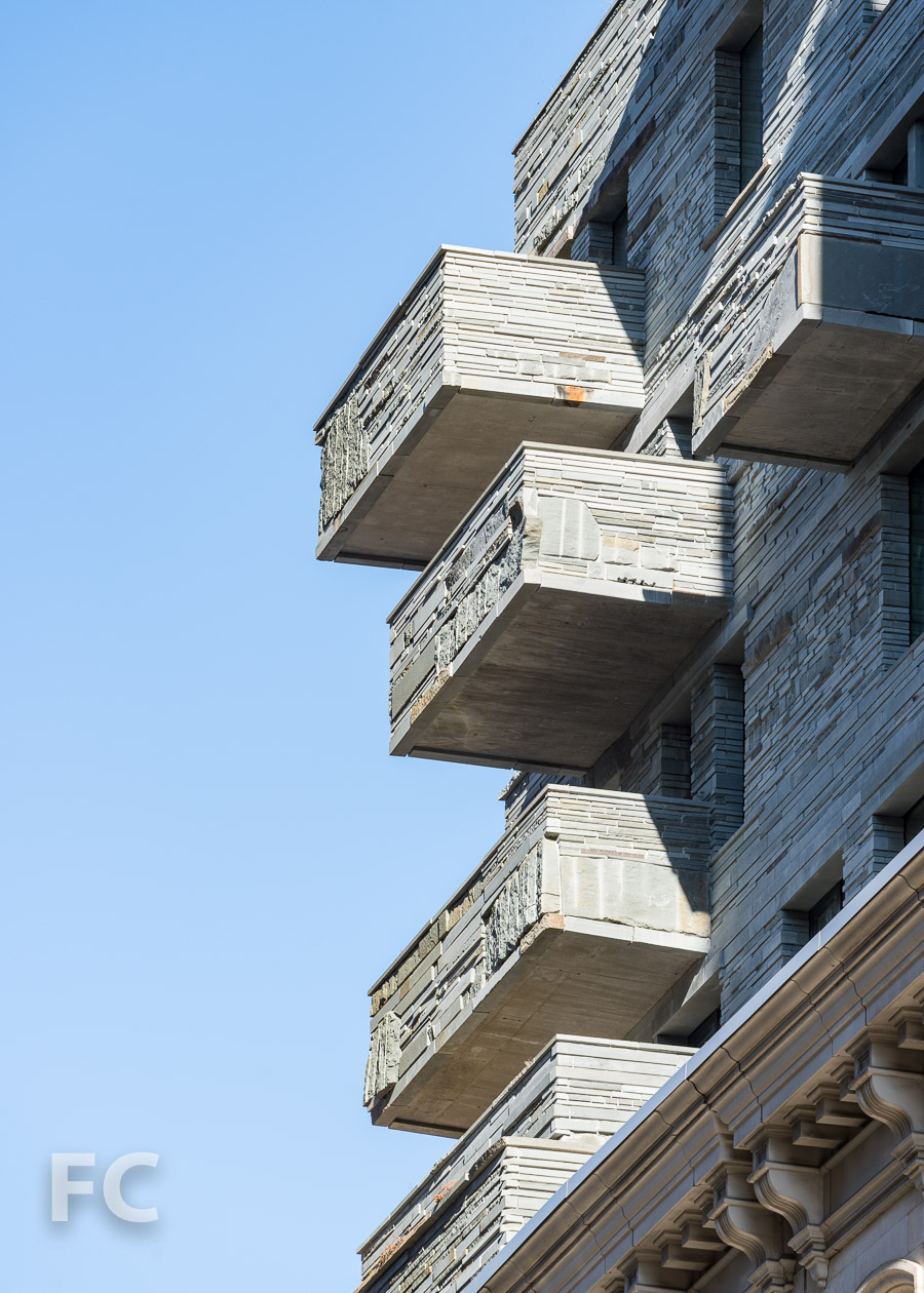 Close-up of the balconies on the upper floors on the south facade.