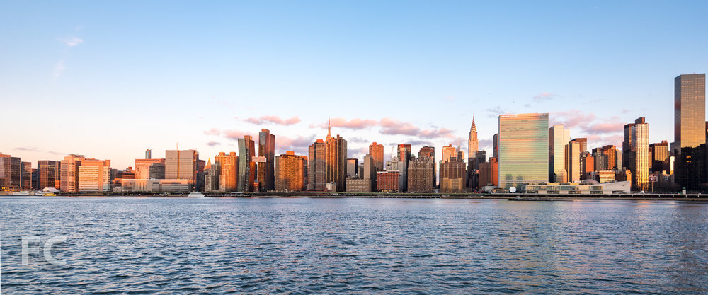 The American Copper Buildings amongst the Manhattan skyline.