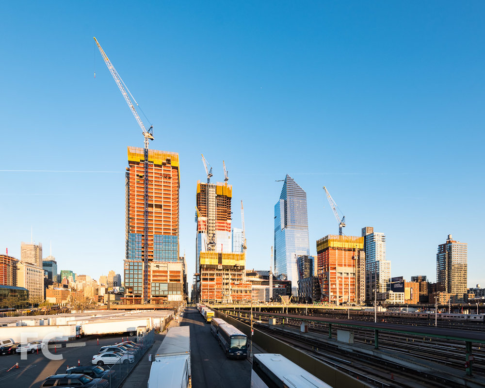 The towers of Hudson Yards' eastern rail yard viewed from the High Line.