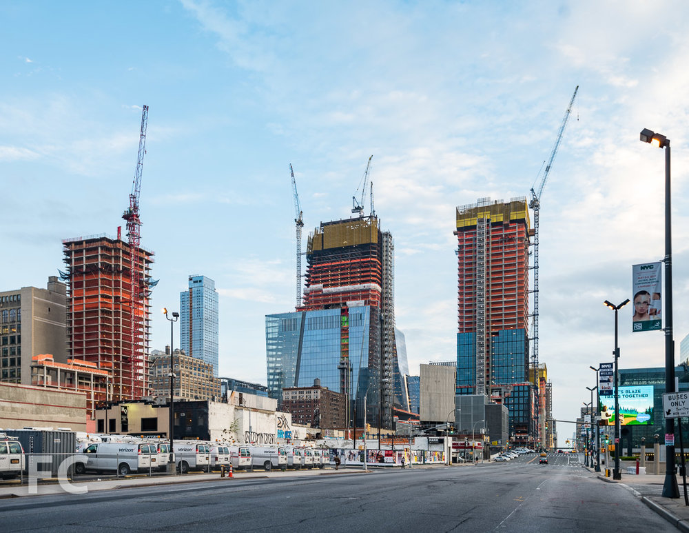 Looking south towards the rising towers of Hudson Yards from 11th Avenue.