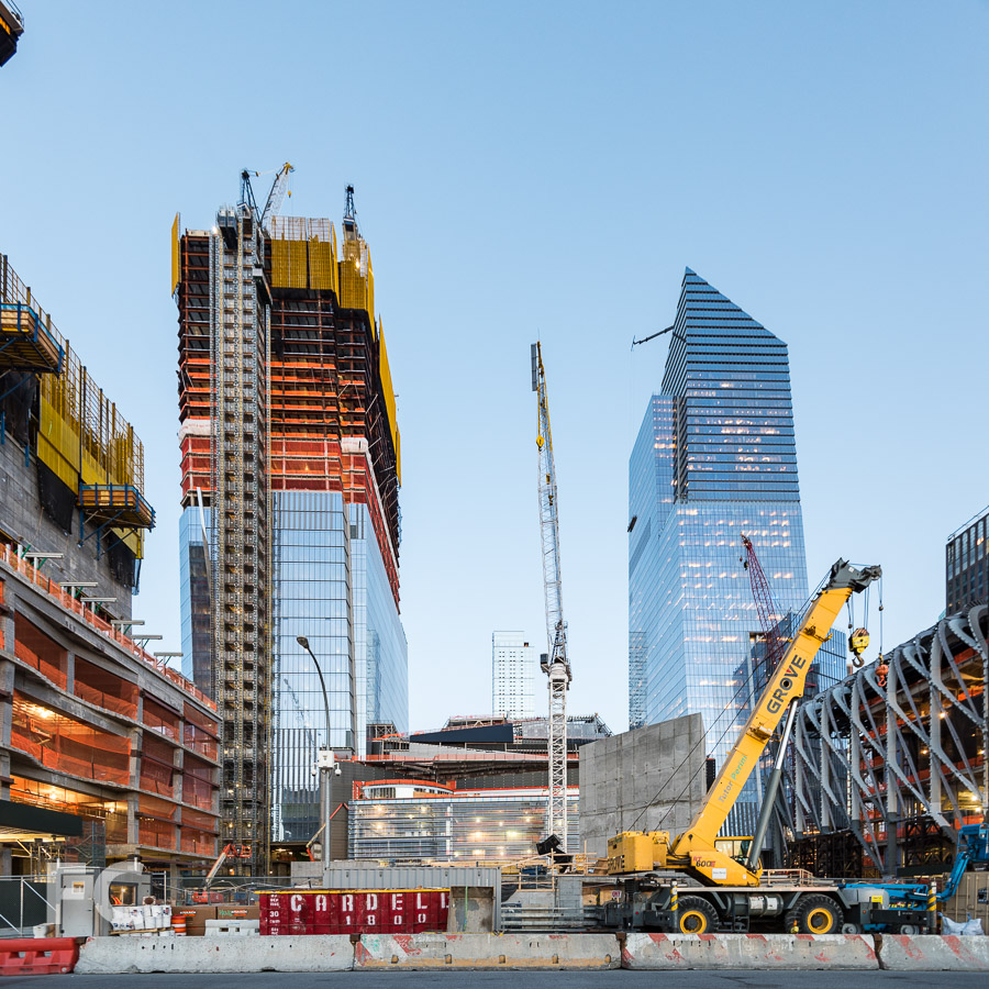 View of 30 Hudson Yards (left), the retail podium (center), 10 Hudson Yards (right), and the Shed (far right) from 11th Avenue.