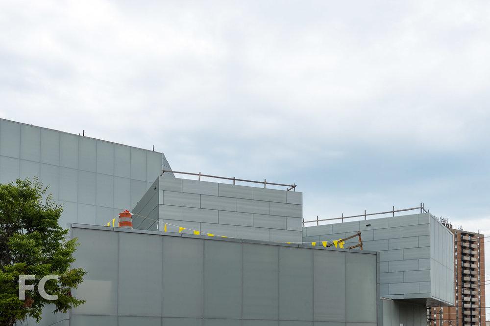 Close-up of the north façade.