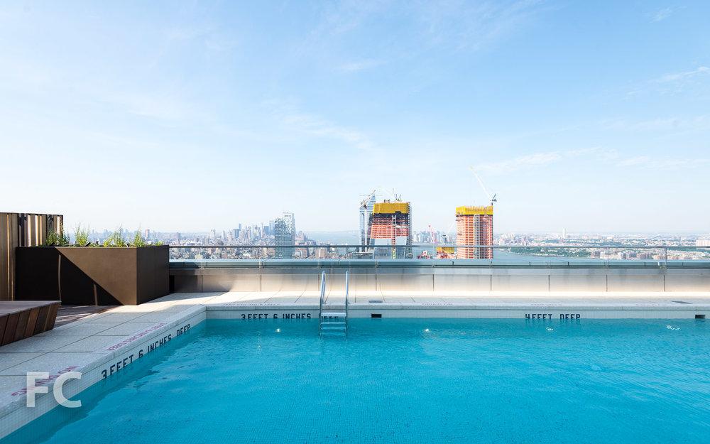 Rooftop outdoor pool.