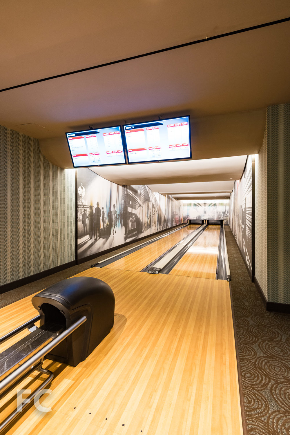Bowling alley in the play area.