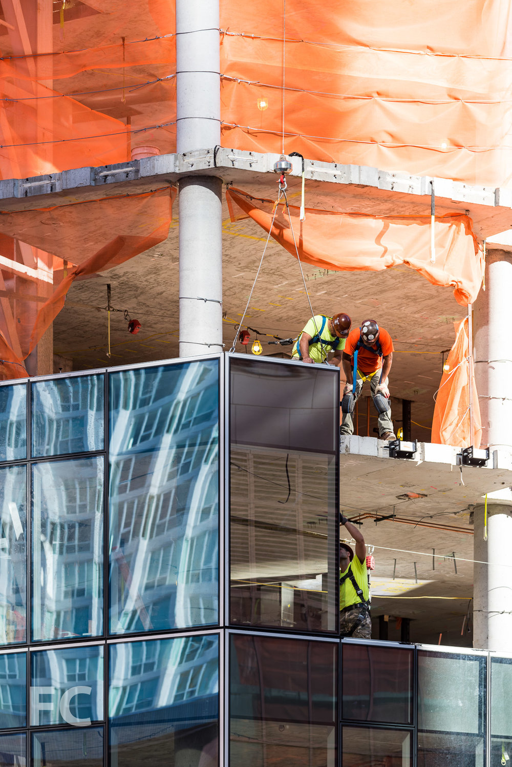 Curtain wall installation at Two Waterline Square.