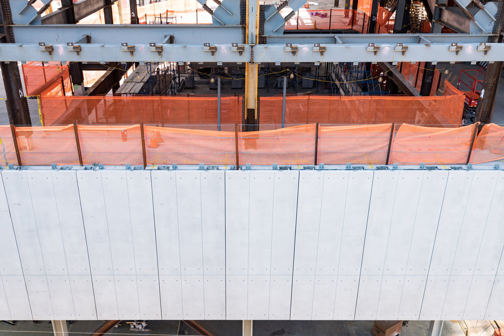 Precast concrete panels cladding the east facade of the Academic Conference Center.