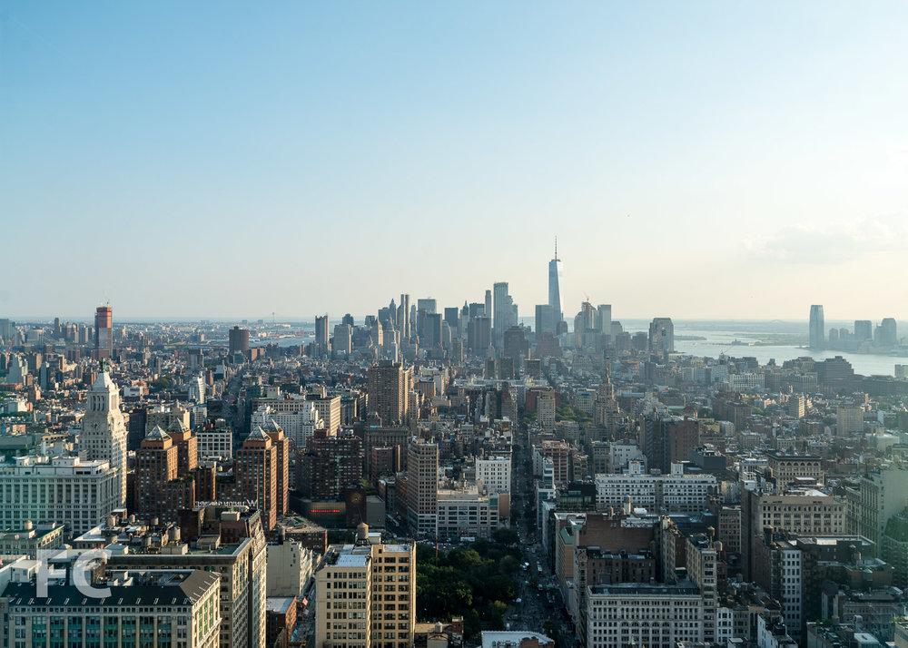 Lower Manhattan skyline view.