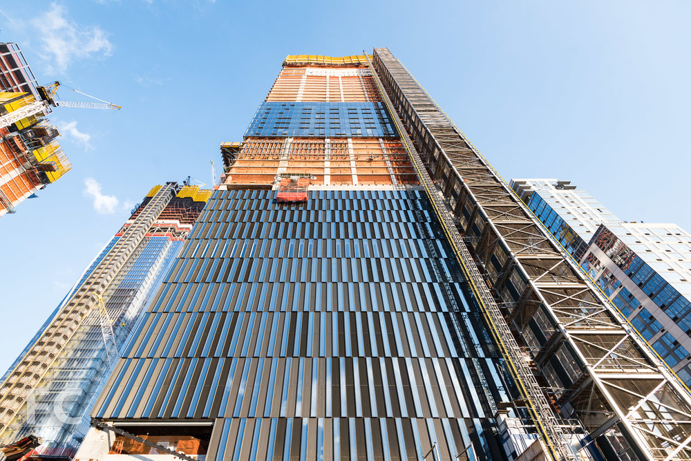 Looking up at the west facade of 15 Hudson Yards.