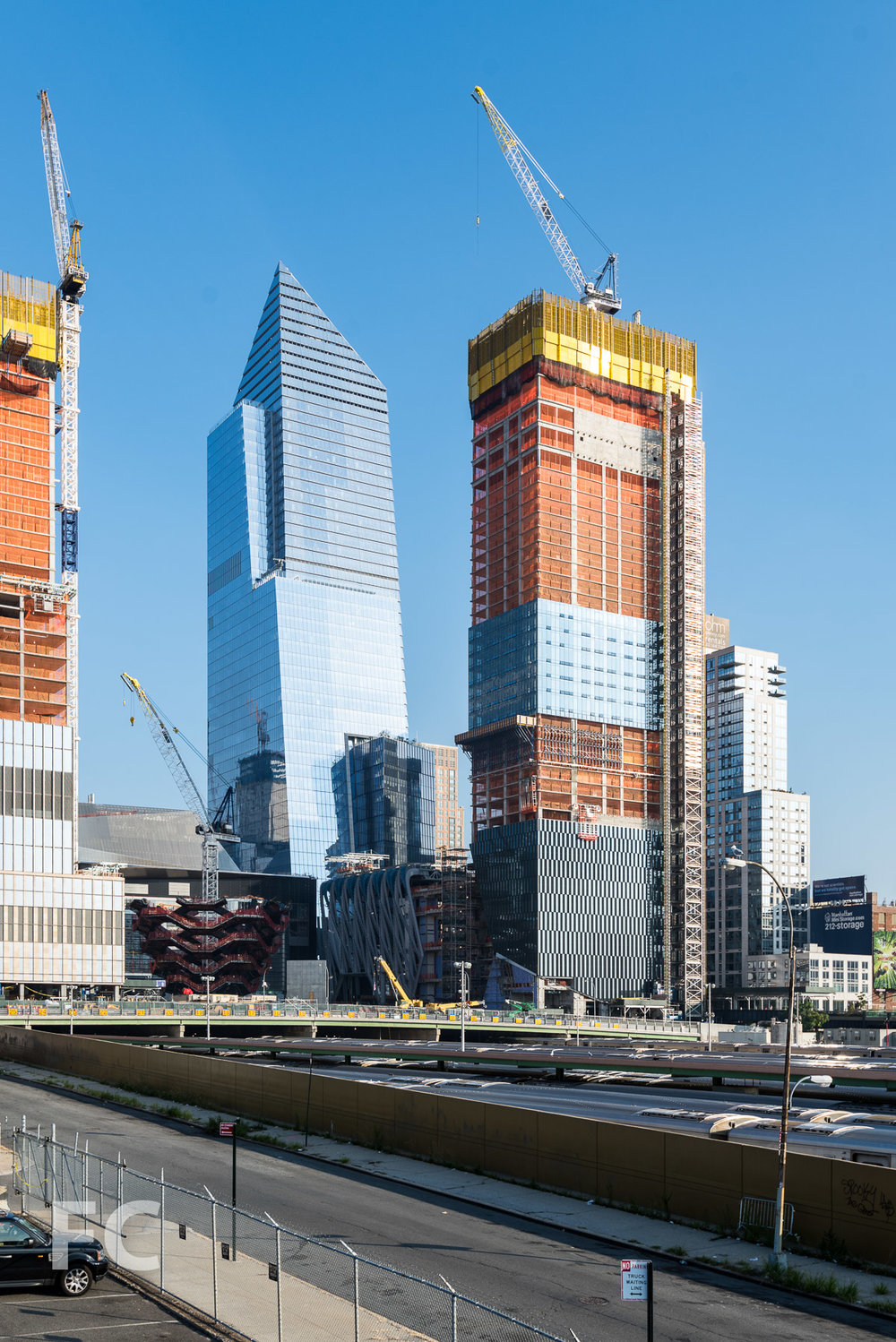 Northwest corner of 10 Hudson Yards (left) and 15 Hudson Yards with The Shed (right).