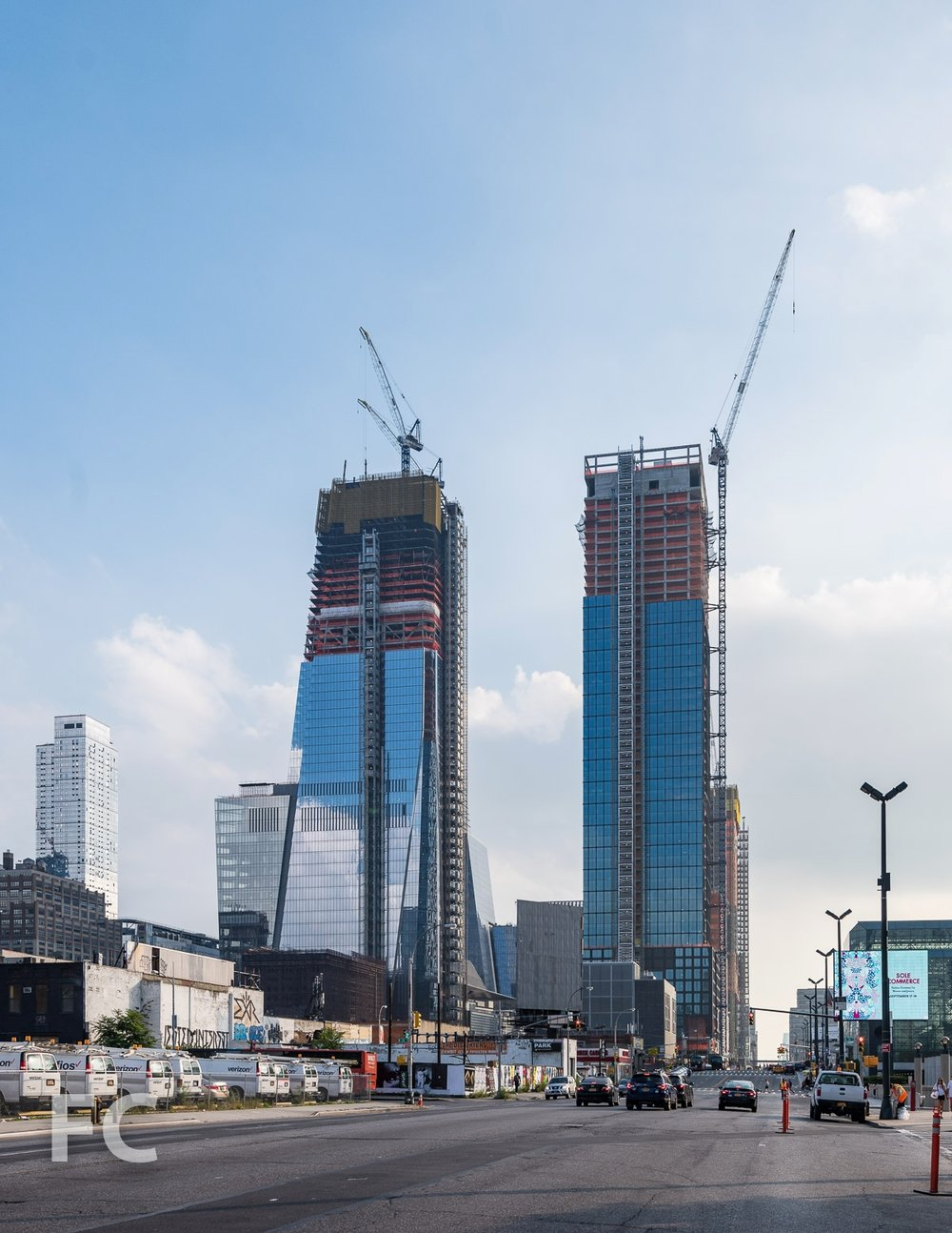 Looking south on 11th Avenue towards 30 Hudson Yards (left) and 55 Hudson Yards (right).