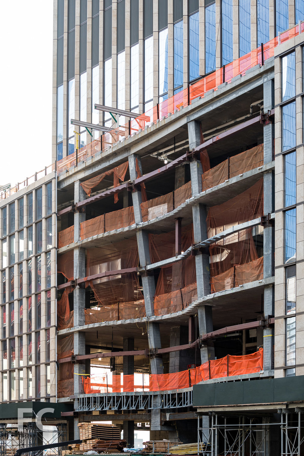 Close-up of the east facade of the podium at 35 Hudson Yards.