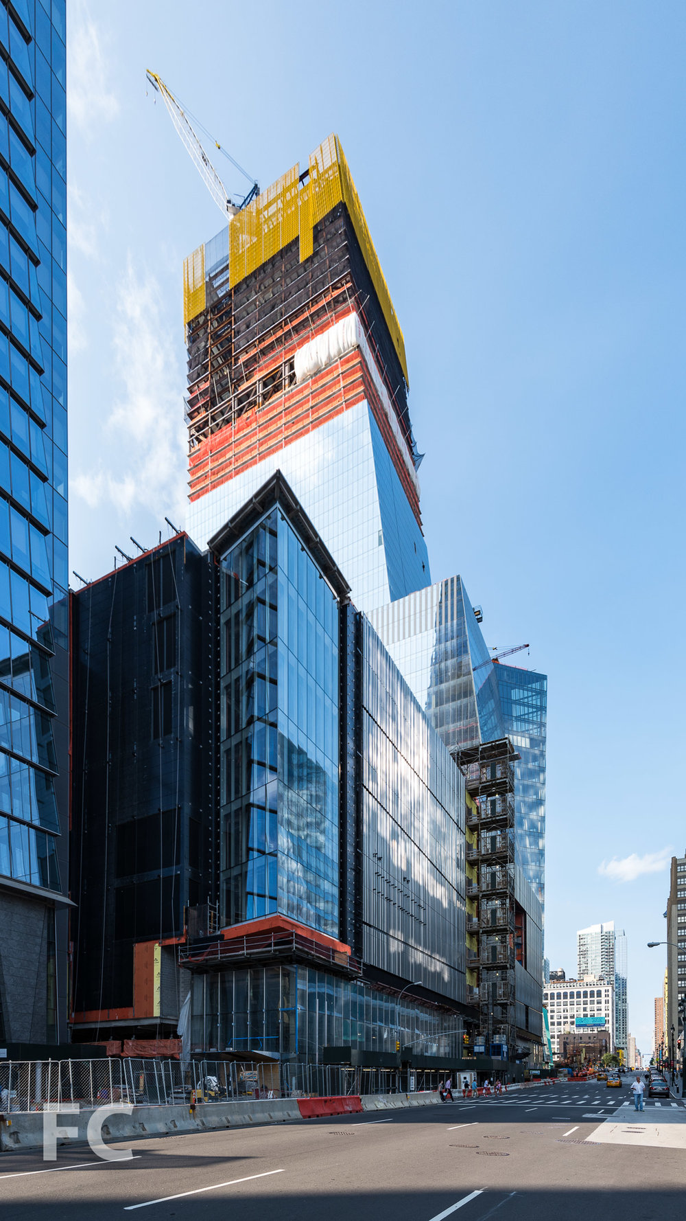 Hudson Yards retail podium (foreground) and 30 Hudson Yards (background).