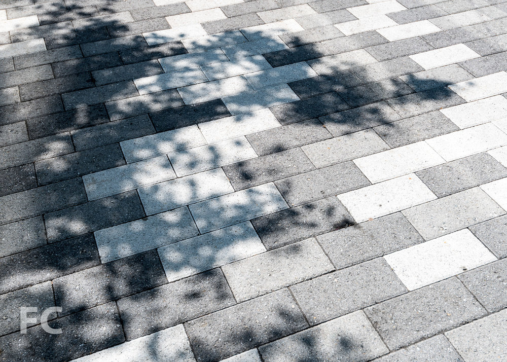Sidewalk paving pattern.