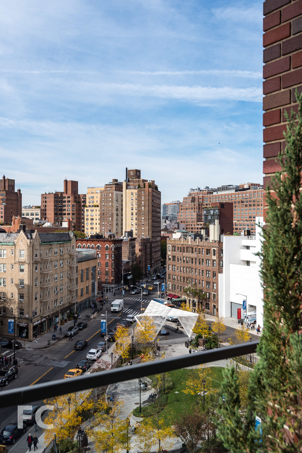 View of St. Vincent's Triangle Park and the New York City AIDS Memorial from a terrace.
