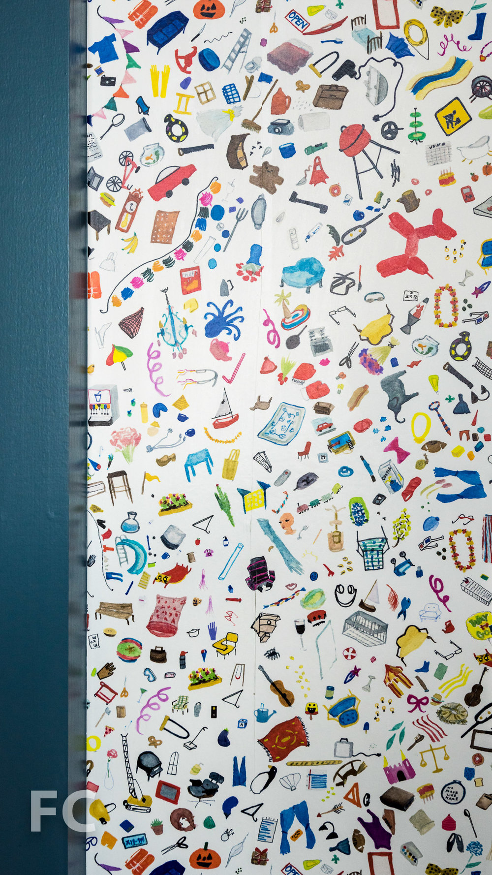 Detail of play room wallpaper.