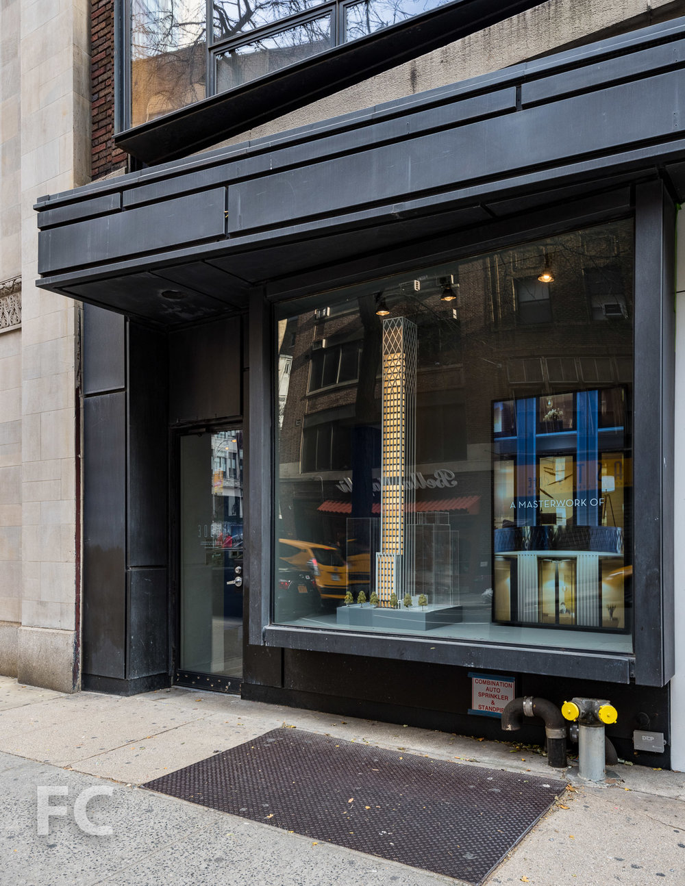 Sales gallery storefront at 127 Madison Avenue.
