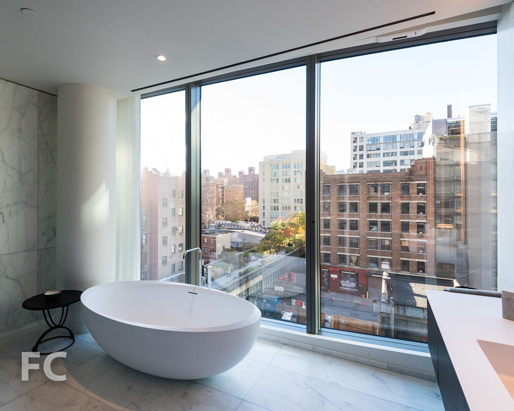 Soaking tub in the master bathroom.