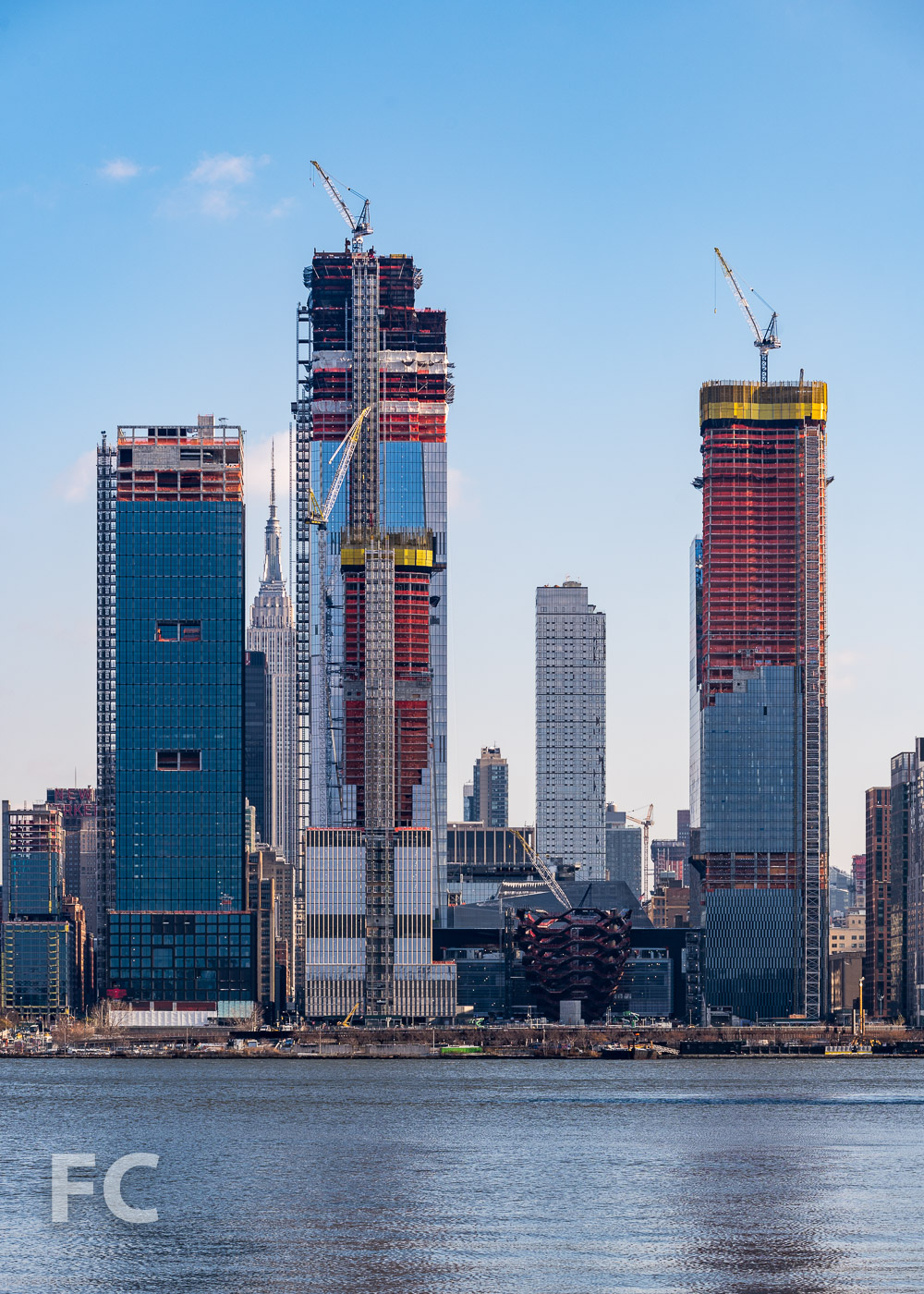 Hudson Yards rising on the Hudson River waterfront.