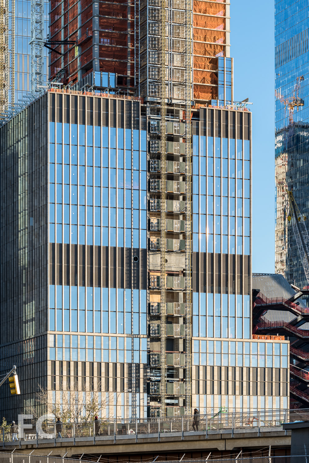 Close-up of the northwest corner of 35 Hudson Yards.