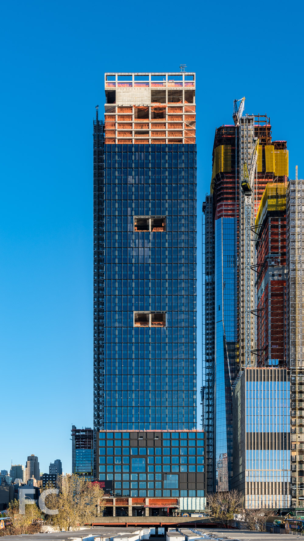 West facade of 55 Hudson Yards.