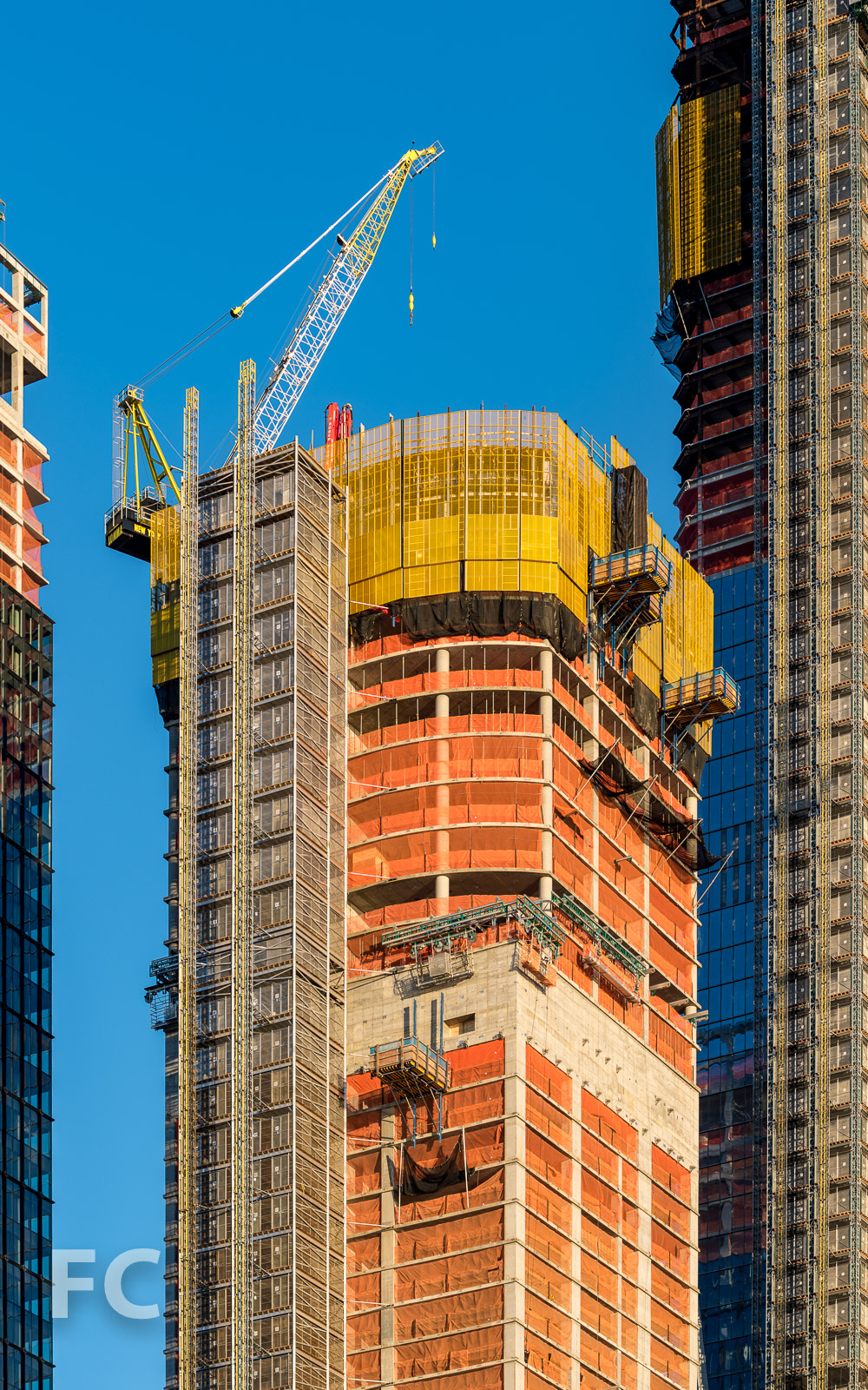 Close-up of the southwest corner of 35 Hudson Yards.