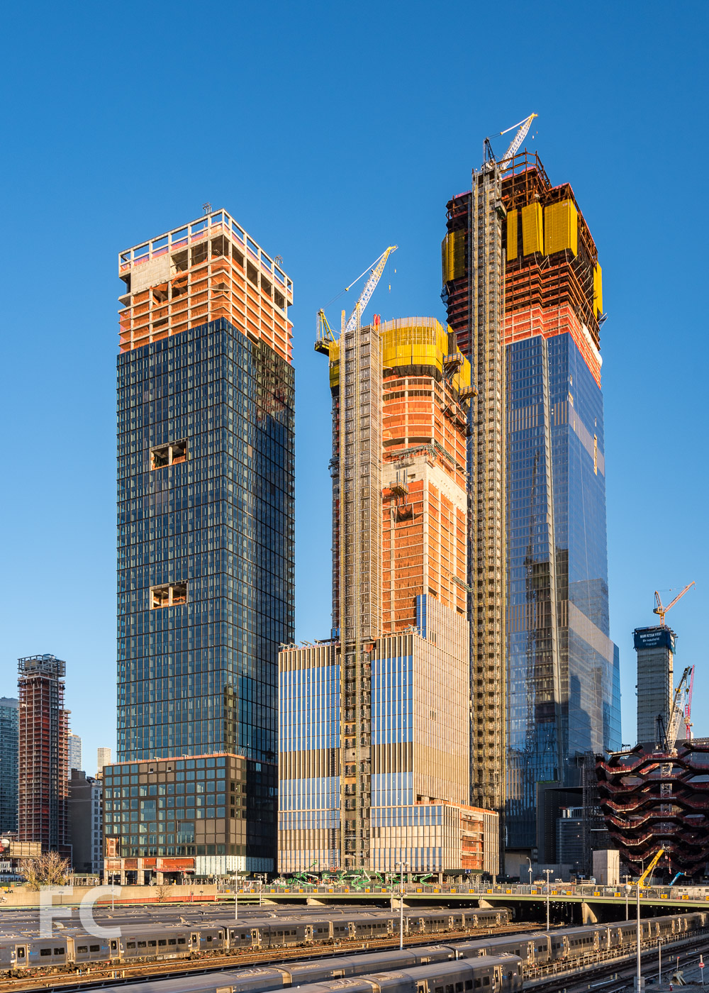 Southwest corner of 55 Hudson Yards (left), 35 Hudson Yards (center), and 30 Hudson Yards (right) from the High Line.