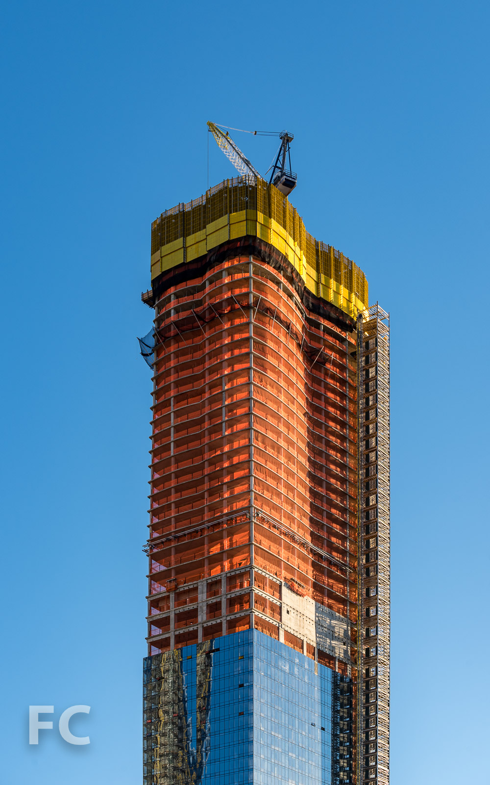 Close-up of the northwest corner of 15 Hudson Yards.