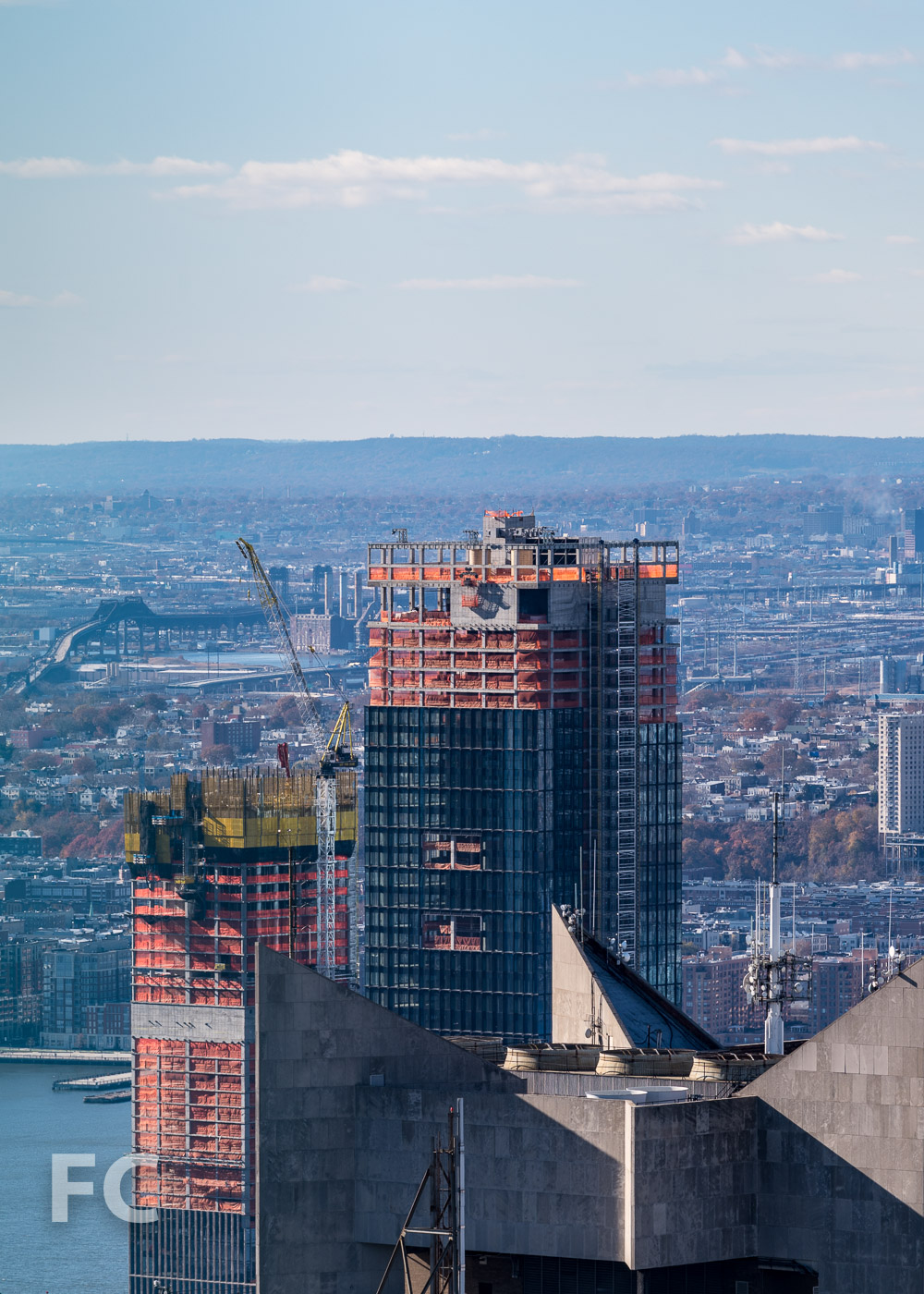 Northeast corner of 35 Hudson Yards (left) and 55 Hudson Yards (right).