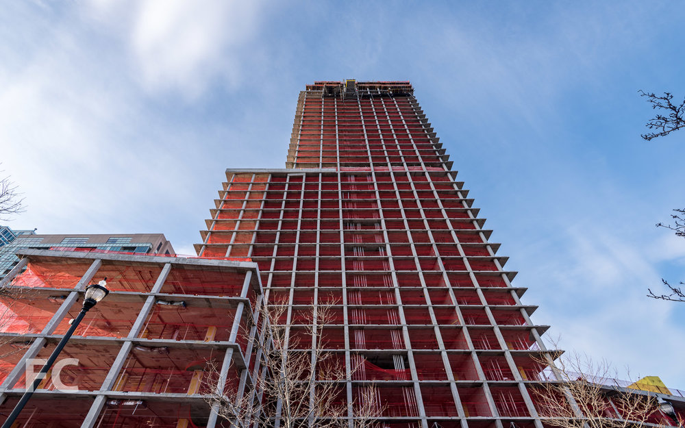 Looking up at the north facade of 75 Park Lane.