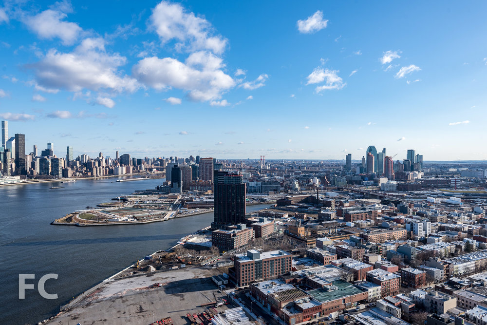 View of Greenpoint and Long Island City from the rooftop.