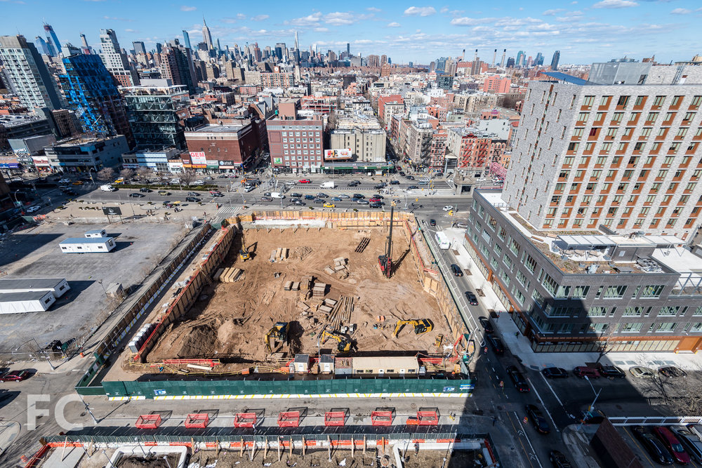 Looking down on the site of 180 Broome Street.