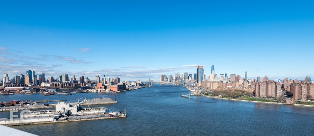 Panoramic view of Lower Manhattan and Downtown Brooklyn from the rooftop.