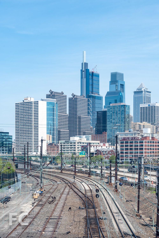 Southwest corner of the tower on the Philadelphia skyline.