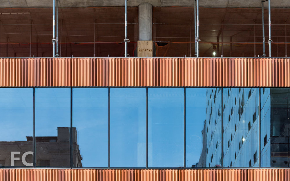 Close-up of the south facade curtain wall panels.
