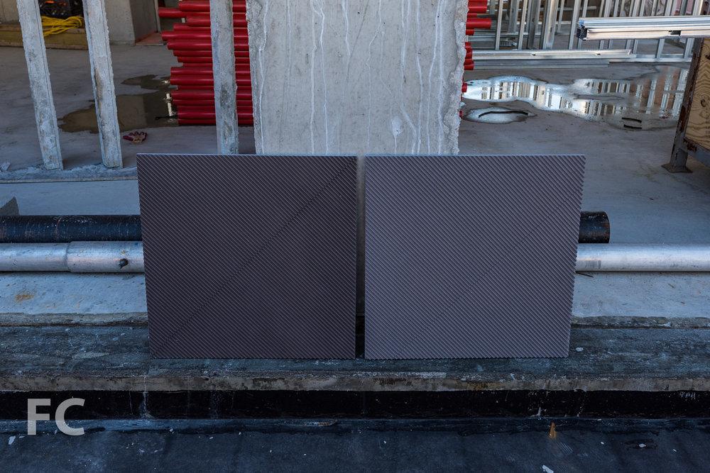Mockup of the concrete facade panels.