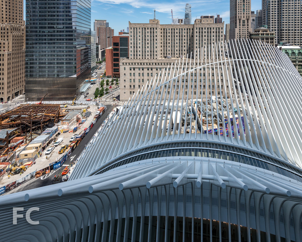 Looking down on the Transit Hub from the 17th floor terrace.