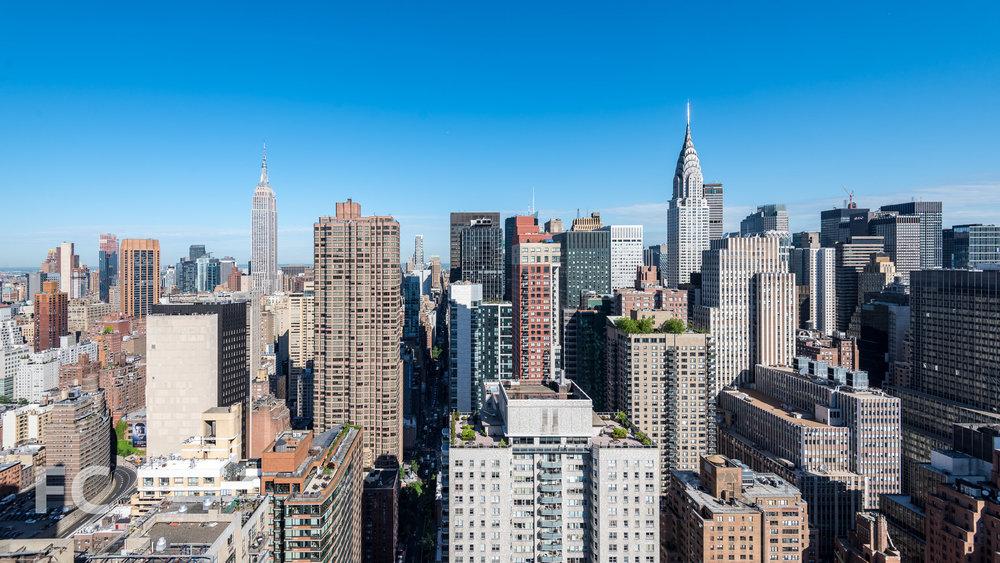 View west towards Midtown from the top floor.