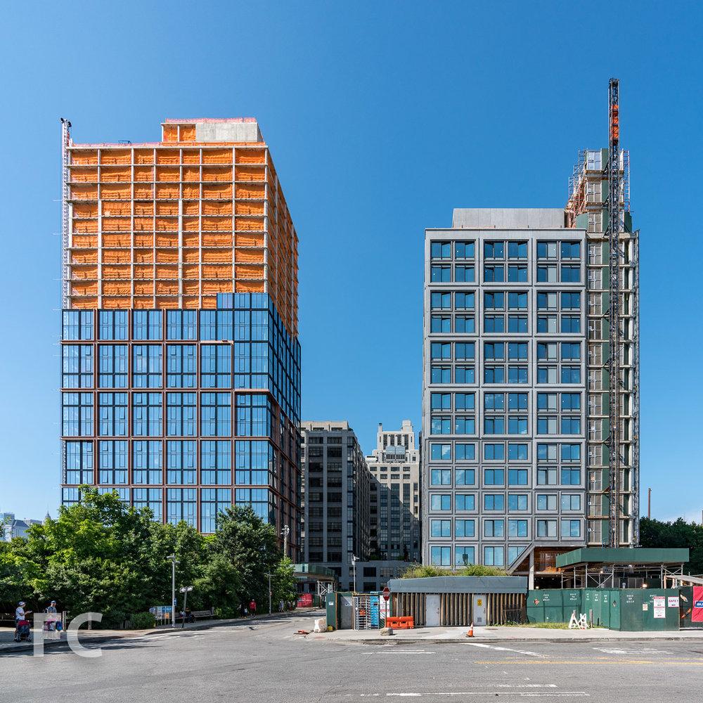 South façade of 15 Bridge Park Drive (right) and 50 Bridge Park Drive (left).