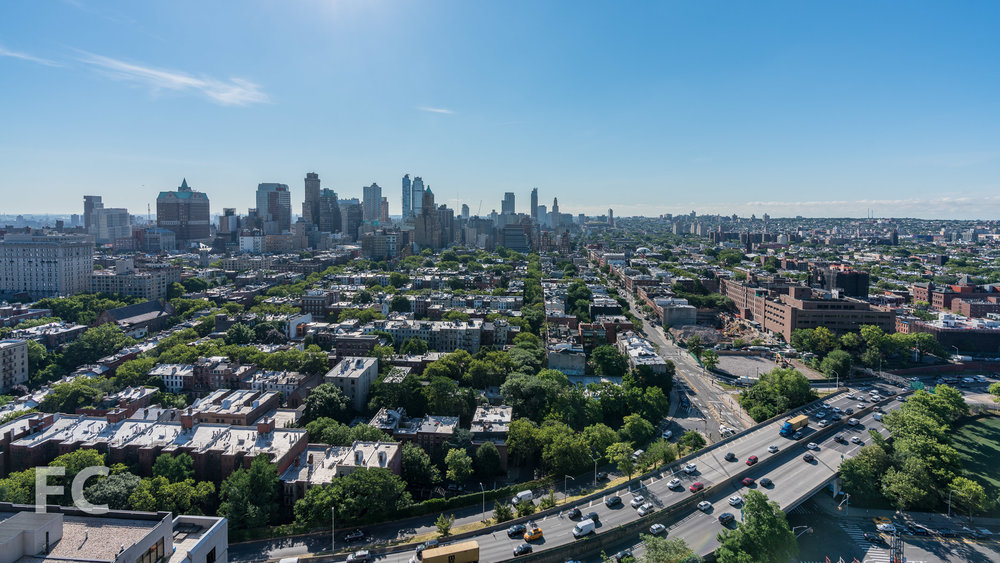 View east towards Downtown Brooklyn from the top floor of 50 Bridge Park Drive.