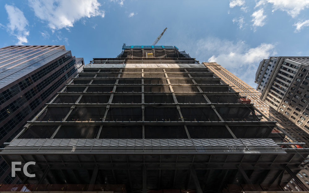 Looking up at the west facade from Madison Avenue.