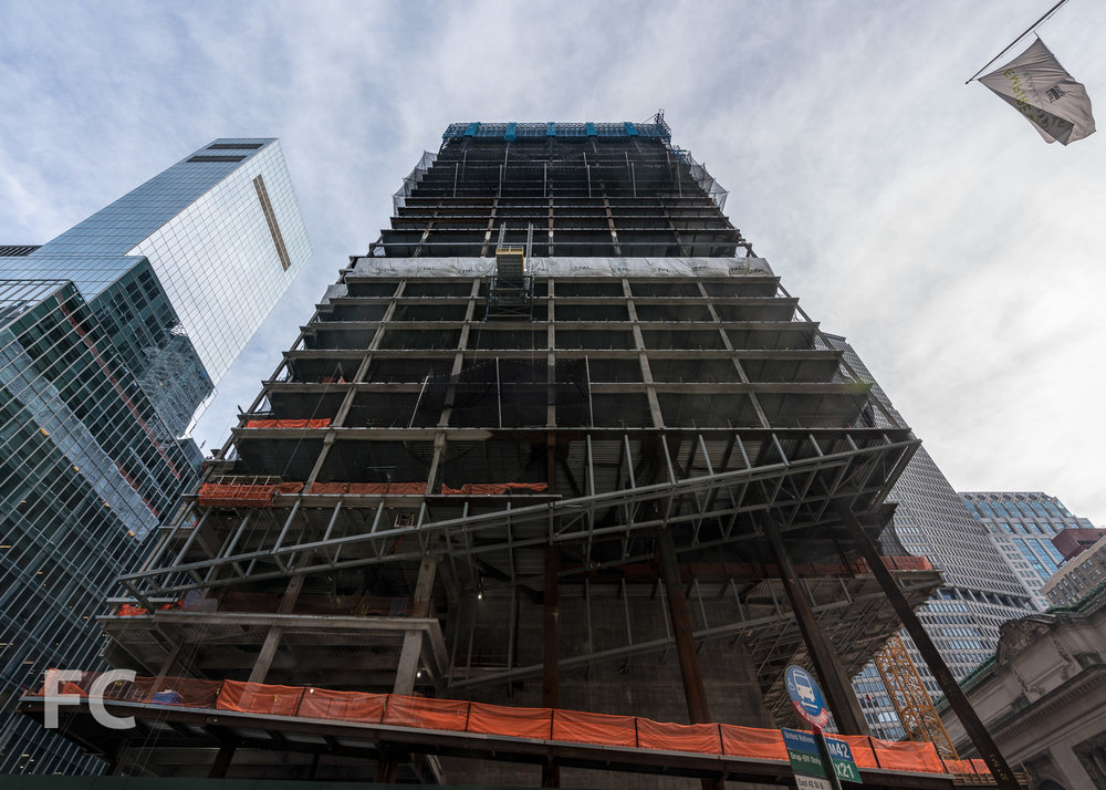 Looking up at the south facade from East 42nd Street.