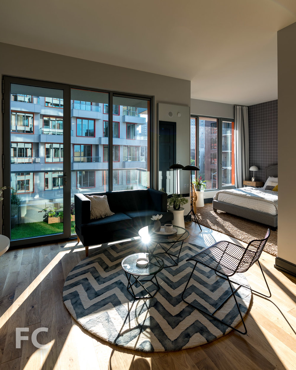 Studio living space.