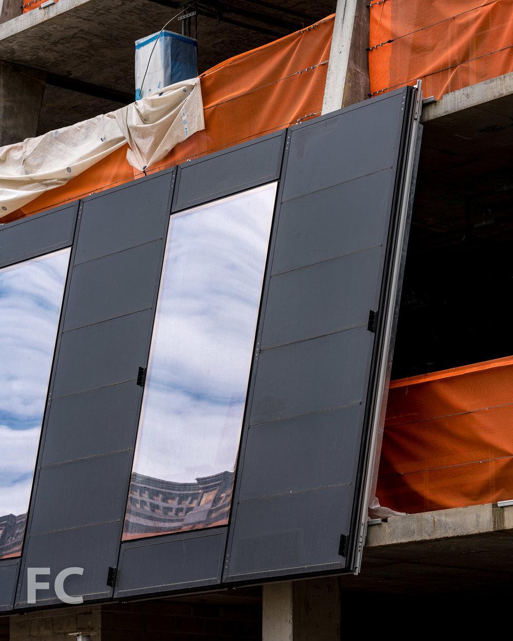Closeup of the facade panels.