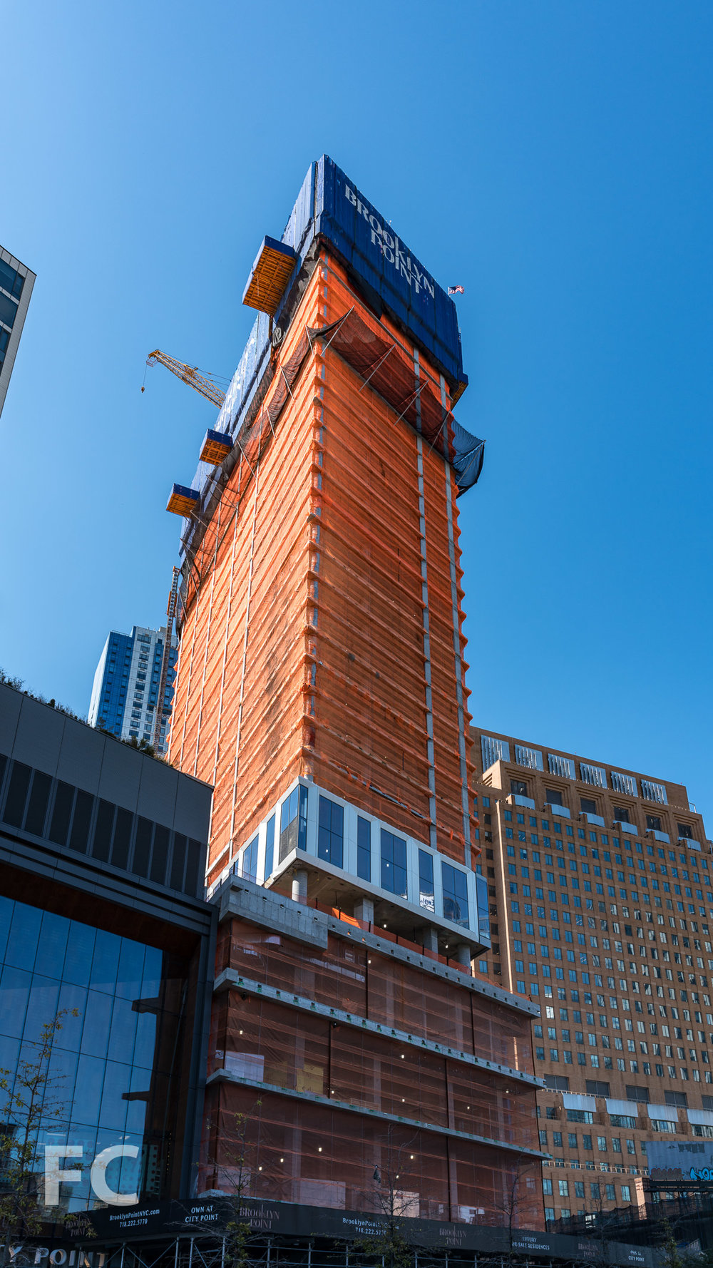 Southeast corner of the tower from Flatbush Avenue.