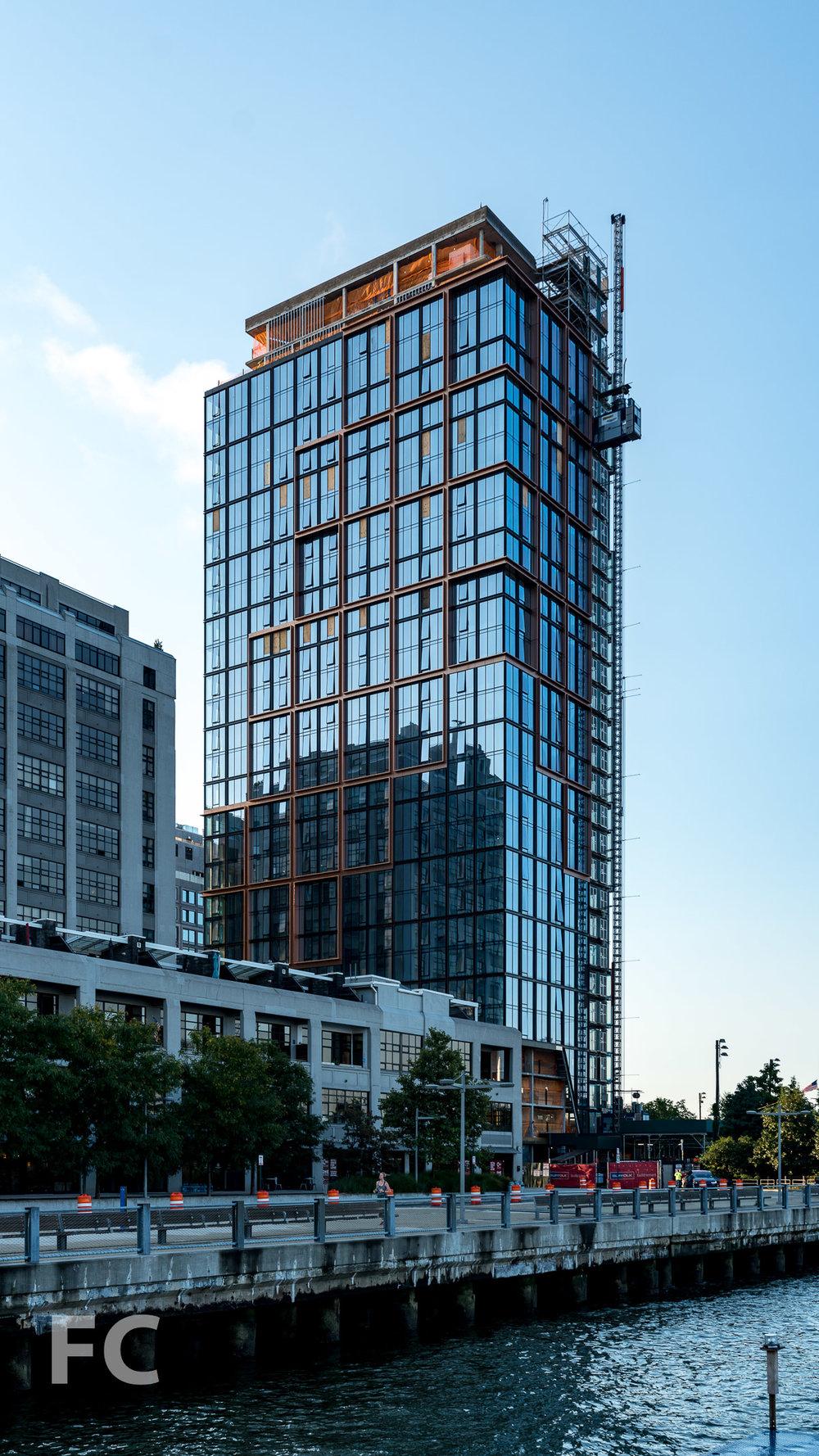 Northwest corner of Quay Tower from Pier 5 of Brooklyn Bridge Park.