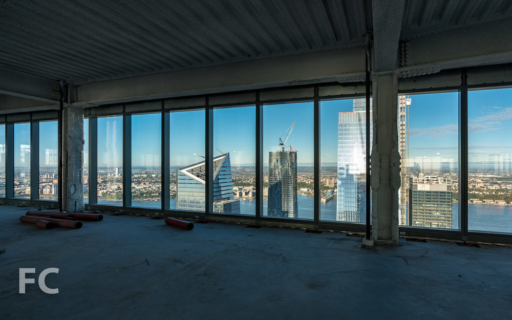 View west towards Hudson Yards from an office floor.