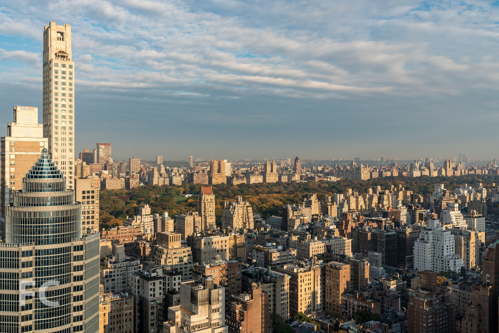 View to the northwest towards Central Park from the penthouse terrace.